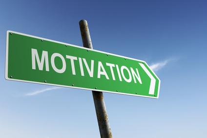 Motivation direction. Green traffic sign.