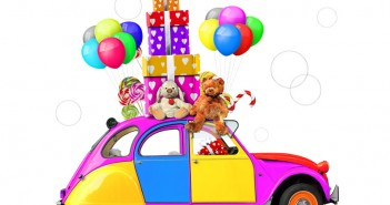 Colorful car with gifts and toys, holiday